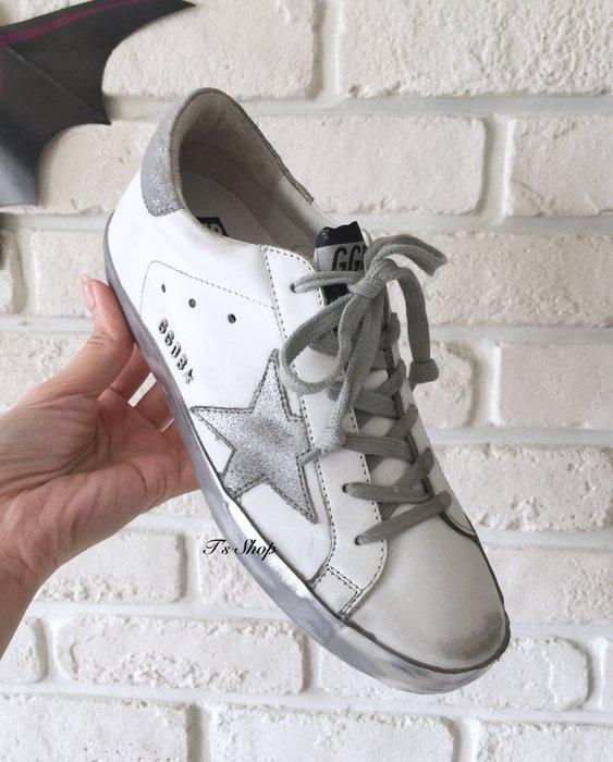 《美國T`s Shop》美! 氣質色 GOLDEN GOOSE SSTAR 金屬銀刷底邊仿舊運動休閒鞋