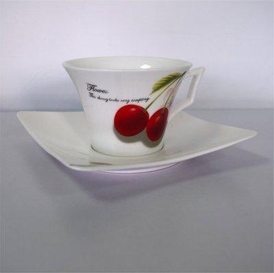【現貨】 櫻桃咖啡對杯2組(兩杯兩碟)200ml全新未使用商品