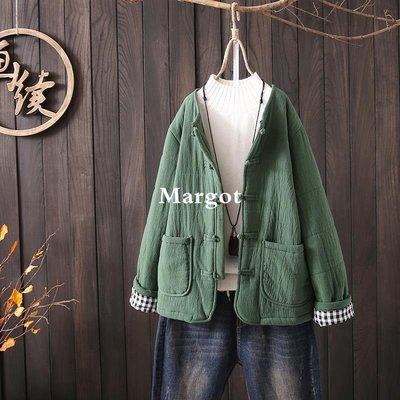 [Margot]時尚原創 盤扣棉麻夾棉加厚棉衣外套 2018冬裝新款寬松大碼文藝女