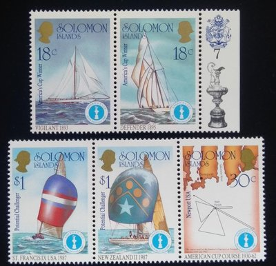 所羅門群島Solomon Islands郵票帆船郵票(Sailboat)1987年發行#3607全新特價