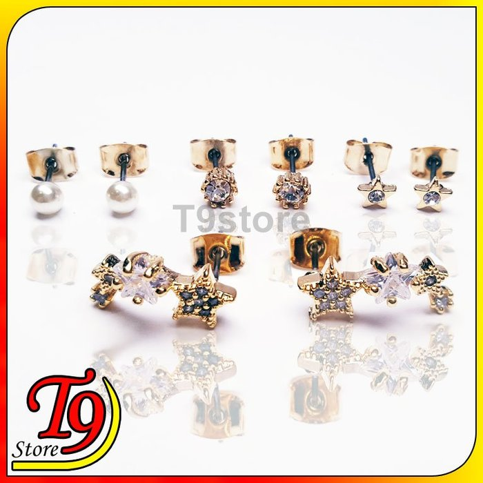 【T9store】韓國製 星星單鑽珍珠組合鋼針耳環