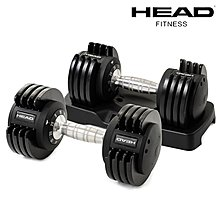 HEAD 快速可調式啞鈴25lbs (兩支裝/共22kg) 5段式調整 快拆啞鈴 重量訓練 好吉康健美科技