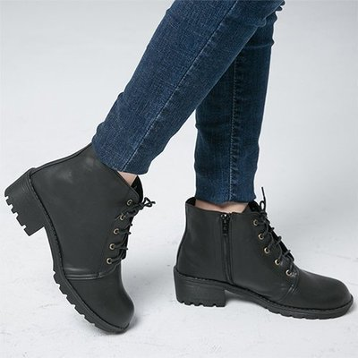 Ovan 女款 MIT素面百搭繫帶側拉練低跟 短靴 馬丁靴 機車靴