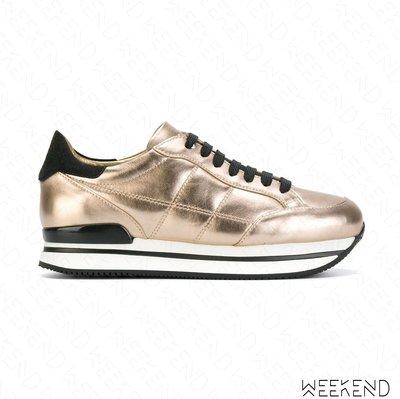 【WEEKEND】 HOGAN H222 皮革 厚底鞋 休閒鞋 金+黑色