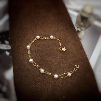 周可可 美國原材料14K包金雙層手鏈天然珍珠5mm正圓無暇 1289F