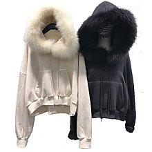 ❤Princess x Shop❤韓版寬鬆純色真毛領短款套頭大學T恤長袖女連帽加絨上衣外套DX1911271
