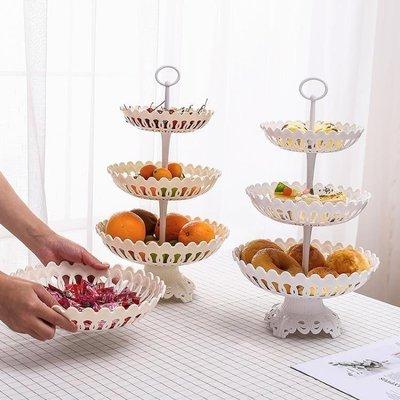 日和生活館 水果盘塑料歐式多層水果籃歐式現代客廳三層水果盤創意塑料果茶幾點心盤S686