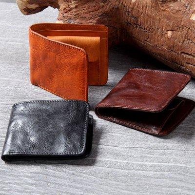 短夾真皮錢包-手工擦色植鞣牛皮男女皮夾3色73vp24[獨家進口][米蘭精品]