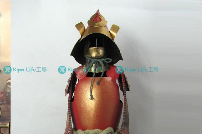 KIPO-餐廳飯店客廳擺飾裝潢日本武士盔甲擺飾立柱-金紅色-RHA016110A