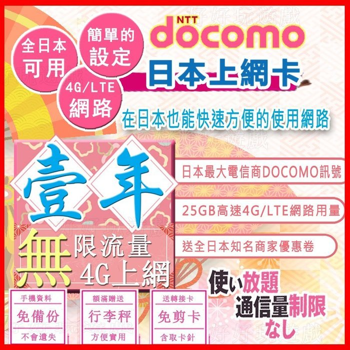*日本好好玩 超商免運費* 1年 12個月 一年 日本上網卡 25G超高用量 4G 吃到飽 送行李秤 docomo 網卡