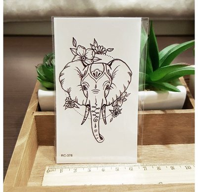 【萌古屋】Z系列泰國線條花象- 男女防水簡約紋身貼紙刺青貼紙RC-378