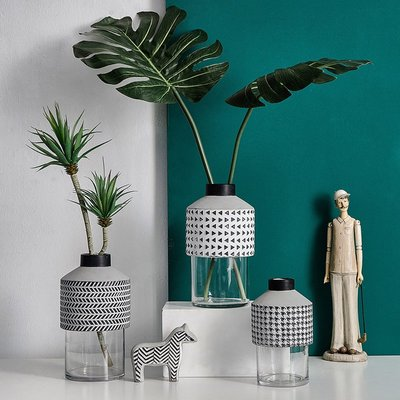 〖洋碼頭〗北歐水泥玻璃花瓶仿真綠植客廳桌面軟裝飾品擺件現代簡約插花花器 fjs894