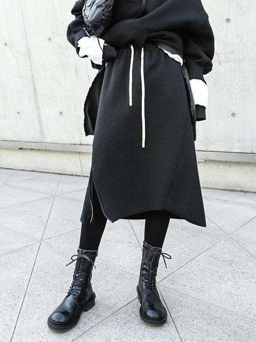 RVP|暗黑風|鬆緊腰拉鍊開叉棉裙-12161