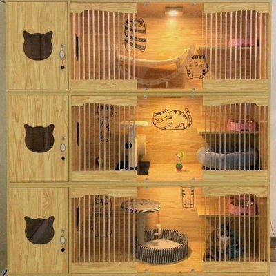 豪华实木猫别墅猫笼猫柜宠物展示笼猫爬架猫屋猫窝猫繁育笼包邮