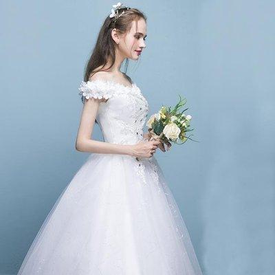 日和生活館 韓式新娘一字肩婚紗結婚禮服大碼秋冬季齊地蕾絲婚紗花朵S686