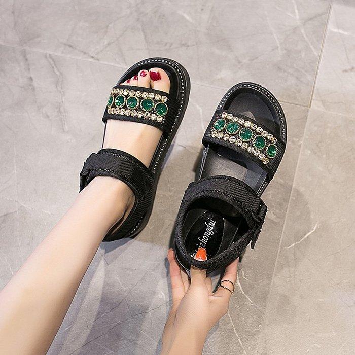 爆款--涼鞋女夏季新款水鉆松糕厚底沙灘鞋百搭韓版學生羅馬ins鞋潮#鞋子#涼鞋#百搭#時尚