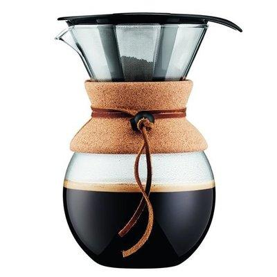 丹麥Bodum POUR OVER手沖咖啡壺 濾壺 經典雪人壺1000ml  (非500ml) 軟木