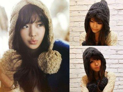 超哥小舖【A4013】森林系女孩 麻花辮編織垂墜毛毛球針織毛線帽