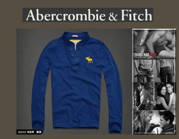 有型男~ A&F Abercrombie&Fitch 2012 聖誕節旗艦經典大麋鹿 亨利領 長袖 Giant Mountain blue 現貨S M L XL