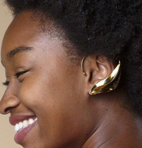 100%Boutique歐美個性誇張風格樹葉立體耳掛式耳環