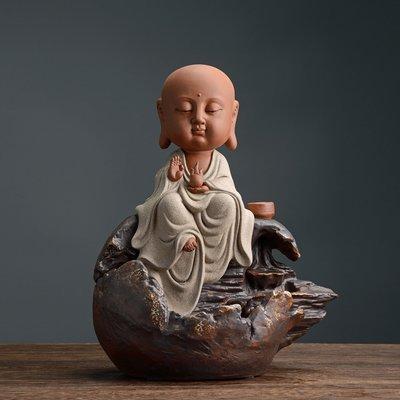 傳藝工坊 - 『童真系列 地藏菩薩』倒流香座 Q版 可愛 裝飾 藝術 收藏 彩砂陶 娑婆三聖
