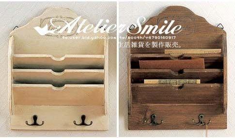 [ Atelier Smile ] 鄉村雜貨 原木作舊 壁掛信件收納 置物架 收纳架 展示架 (現貨)