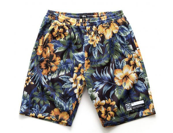 【 超搶手 】全新正品 2014 S/S 夏季 STUSSY ISLAND FLOWER MESH SHORT 扶桑花 球褲 短褲 黑色 M XL