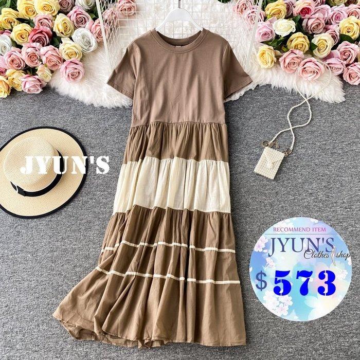 JYUN'S 夏季新款高腰顯瘦撞色拼接雪紡短袖洋裝過膝裙大擺長裙連身裙 3色 預購