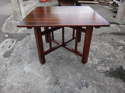B032 {崙頂傳統原木家具行}~杉木合桌傳統型4.2尺四方【接受訂作可染深色】 有現貨2張