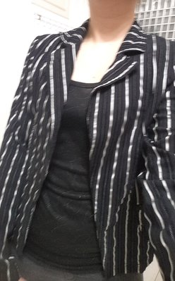 WEALTH HONOR山形屋 黑白直條西裝式外套