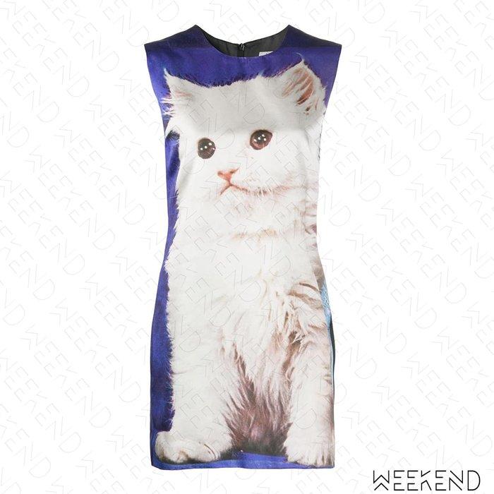 【WEEKEND】 ASHLEY WILLIAMS 印圖 文字 滿版貓咪 無袖 短洋