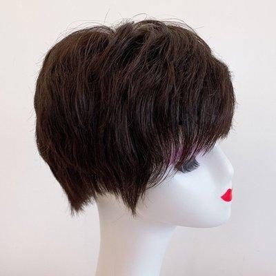 整頂假髮真髮絲短假髮-微捲左右不對稱時尚女假髮2色73vr16[獨家進口][米蘭精品]