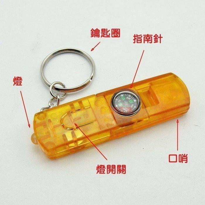 贈品標 購物滿1000元以上1元優惠加購標 限購1個,多功能4合1口哨 指南針 LED手電筒 鑰匙圈,戶外登山;求生哨子