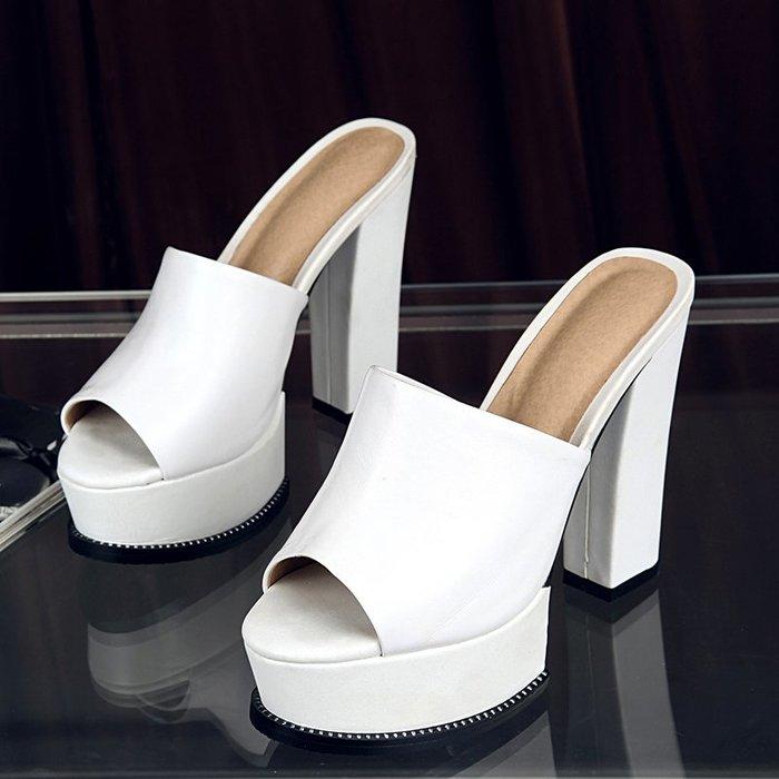 『P.M♥SHOP』2020新款性感高跟拖鞋女夏粗跟涼拖女裝外穿防水台真皮一字拖試衣鞋白