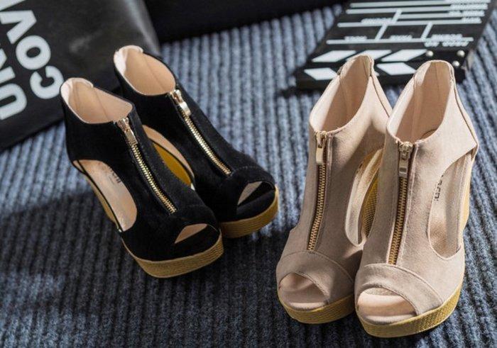 加大碼40/41 韓版爆款 夏季涼鞋 楔型鞋 拉鍊魚口楔型凉鞋 魚口鞋 厚底鞋 女鞋