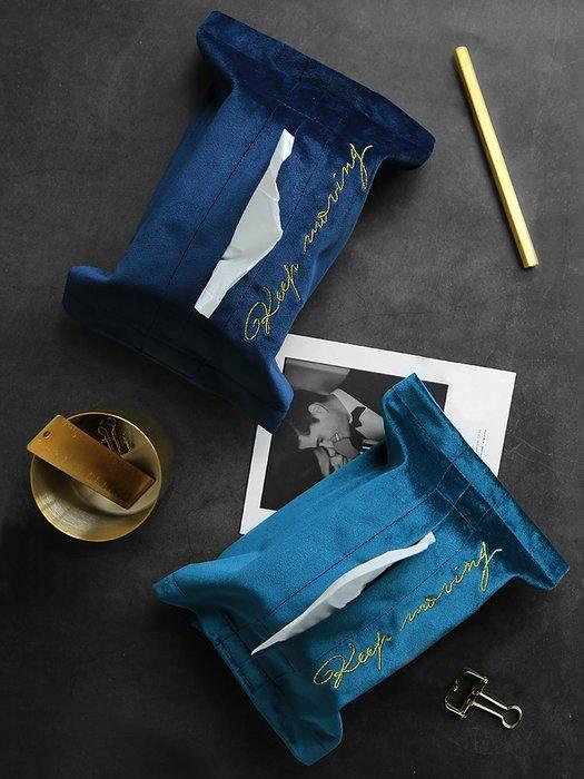 ABOUT。R 歐美時尚絲絨金線刺繡衛生紙布套紙巾收納袋天鵝絨面紙套(3色可選)