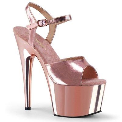 時尚女神玫瑰金綁帶厚底高跟鞋~有大尺碼...
