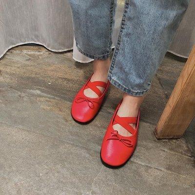 自制蝴蝶結娃娃鞋女夏季交叉鬆緊帶芭蕾舞平底鞋淺口鞋單鞋