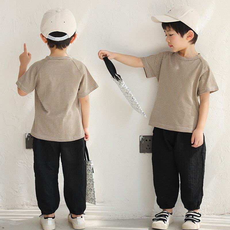 【尚佰惠】兒童圓領T恤2020年夏裝新款男童條紋體恤寶寶時尚短袖洋氣上衣潮