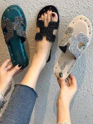 ZIHOPE 涼鞋 拖鞋 滿額網紅外穿拖鞋女2019夏季新款韓版百搭時尚INS一字拖平底涼拖鞋潮ZI812