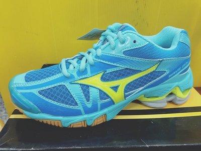MIZUNO美津濃 女 排球鞋 室內運動鞋排羽鞋 WAVE BOLT 6 V1GC176044 水藍黃 現貨