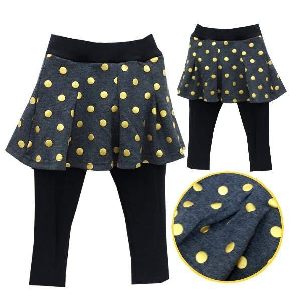 【班比納精品童裝】彈力金蔥點點裙褲-黑