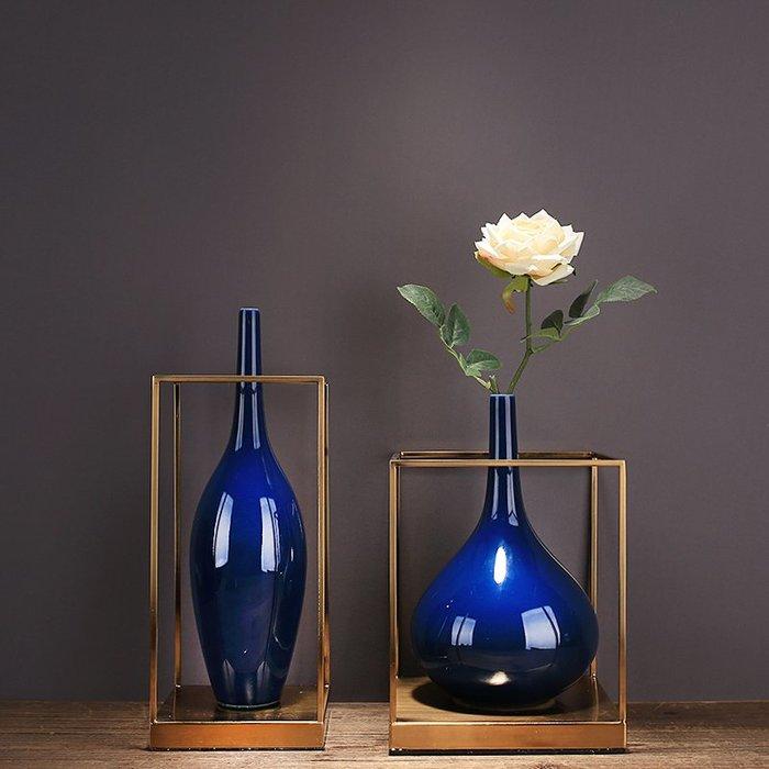 〖洋碼頭〗新中式藍色陶瓷花瓶現代簡約歐式客廳裝飾品插花玄關花器家居擺件 ysh602