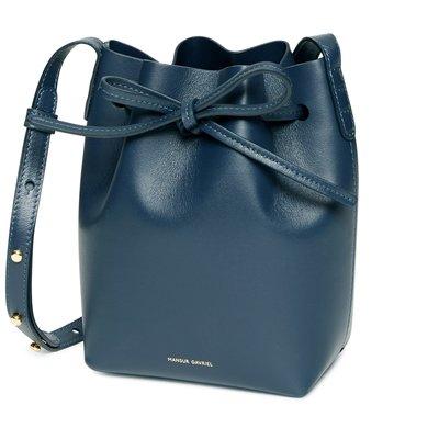 【折扣現貨】正品MANSUR GAVRIEL 小牛皮 小型水桶包-深藍色  mini mini bucket