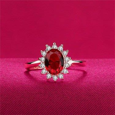 日韓時尚玫瑰金擬真紅寶石可調式開口戒指情人節禮物生日禮物