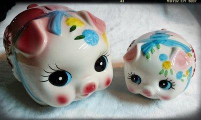 【Aileenの藝品小舖】陶瓷粉紅花小豬撲滿 存錢筒(15公分)