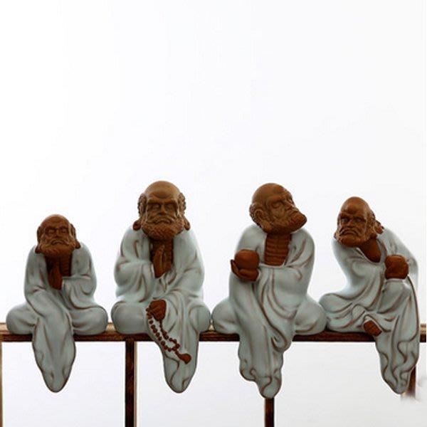 5Cgo【茗道】含稅會員有優惠 520860489091 汝窯開片茶寵陶瓷紫砂工藝品家居茶藝擺件達摩悟禅博古架擺飾四隻