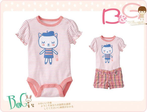 【B& G童裝】正品美國進口OLD NAVY 可愛貓圖樣短袖連身衣12-18mos