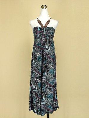 貞新二手衣 韓 寶藍民俗風印度圖紋平口細肩帶牛奶絲洋裝F號(36874)