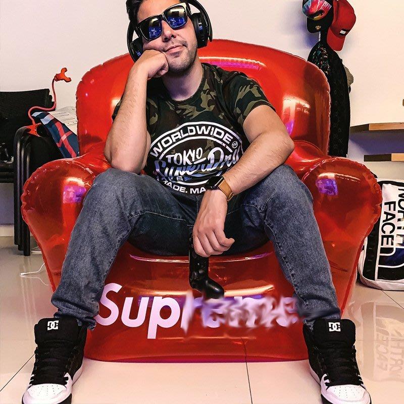 潮牌SUP紅色透明充氣沙發18FW inflatable chair tnr折疊椅子裝飾 雲上仙